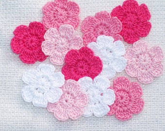 12 handmade pink and white crochet applique flowers -- 2324