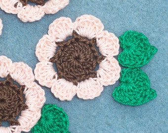 6 crochet applique sunflowers with leaves  --  1587