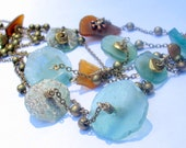 Roman Glass Sea Glass necklace with shades of turquoise Blue and light Green and Brown 1800 year old glass by FiveMuses