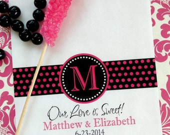 Personalized Candy Bags,Monogram Ribbon Design, Wedding Favor bags,Candy Buffet favor bags,wedding favor,Wedding, Bridal Shower,CUSTOM COLOR