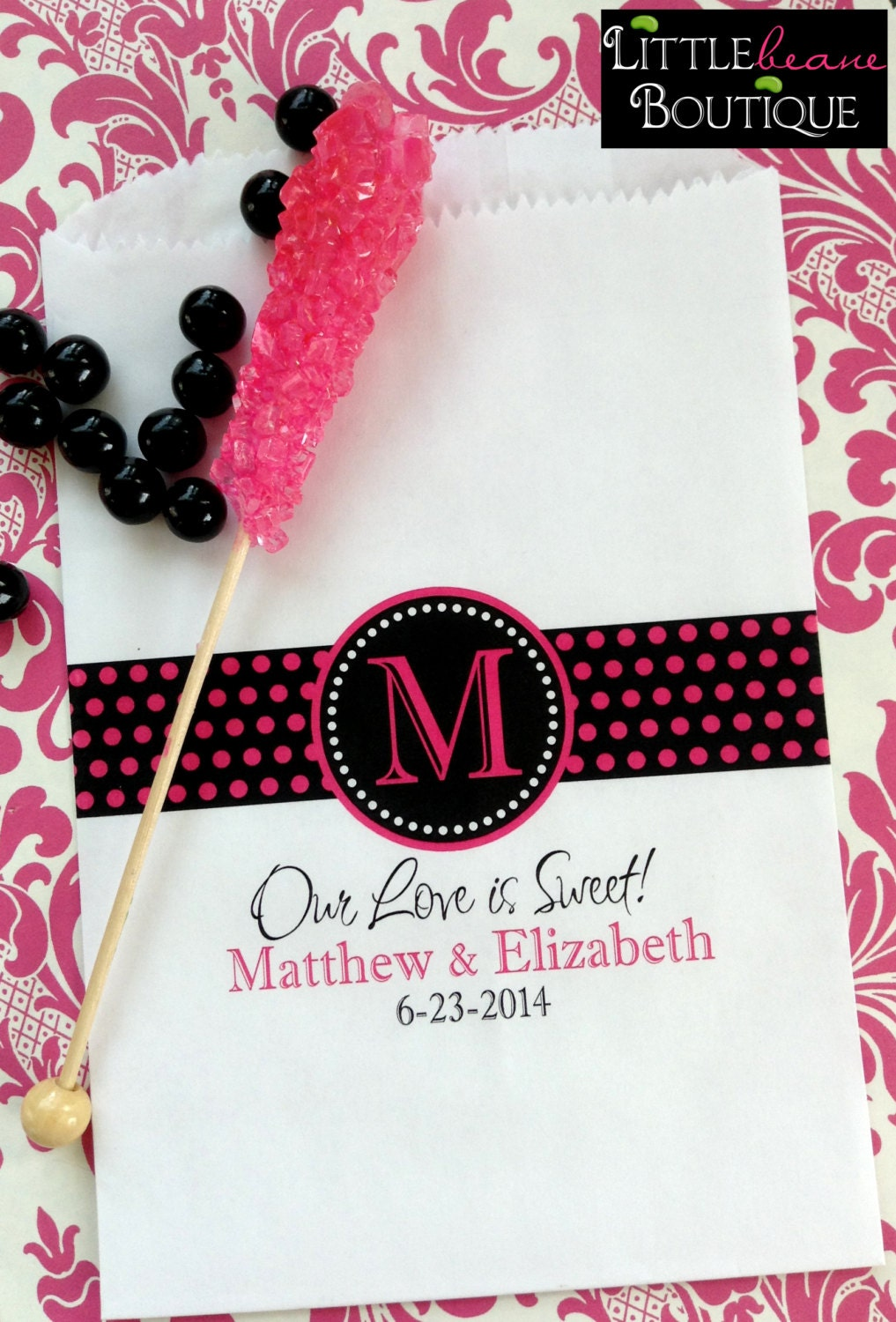 Personalized Candy BagsMonogram Ribbon Design Wedding Favor