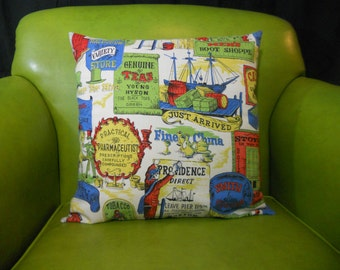 Pillow cover made from vintage reclaimed linen with old fashioned print/ pillow/ home decor/ multi-color/ green, tan, blue, red