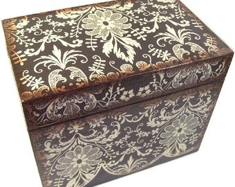 Wedding Guest Book Box Alternative, Personalized Wedding Box Holds 4x6 Cards, Black Damask, Wedding Gift, Bridal Shower Gift, MADE TO ORDER