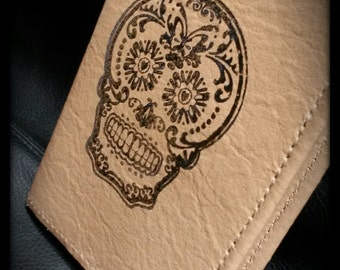Sugar skull stamped Leather Book Journal Cover Camel Tan  Colour Small Pocket Size