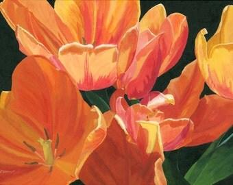 Original Painting Tulips close-up vibrant flowers yellow orange 18 x 24 inches