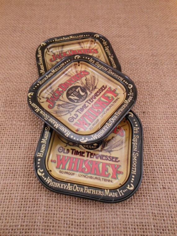 Tin Litho Metal Tip Trays Vintage Jack Daniel S