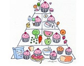 PRINT of CakeSpy artwork 8x10 Cupcake food pyramid