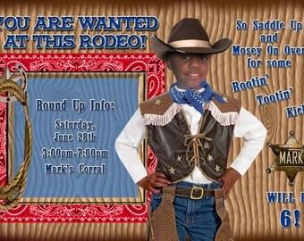 Birthday Invitation Cowboy Rodeo Digital Design