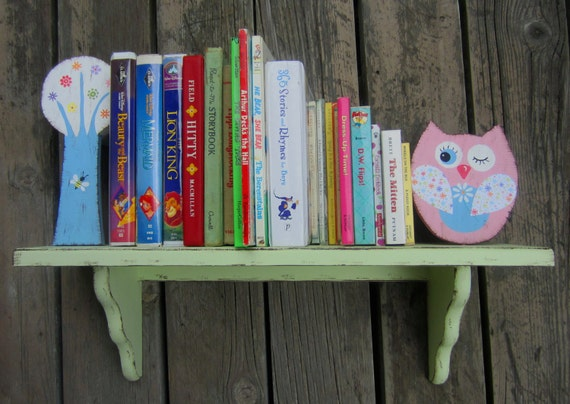 OWL BOOKSHELF - Wall Mounted - Hand-Painted Natural Wood