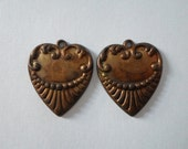 Pair Vintage Ox Brass Heart Charms