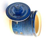 Garlic Jar Textured Blue