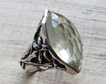 Stargazer Lily Ring- Green Amethyst and Sterling