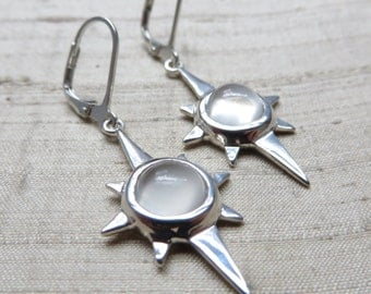 North Star Earrings- White Moonstone and Sterling Silver