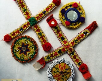 Vintage Tribal Talisman:  Kuchi Beaded Remnant Amulet/Patch Yellow Set #10