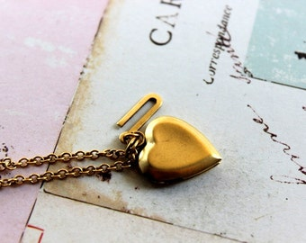 Initial. locket necklace. choose your initial for personalization. smaller heart locket