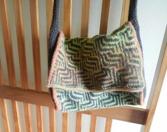 Maze Design Hand Knitted Wool Shoulder Bag