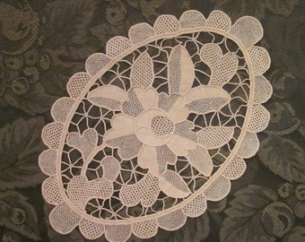 Vintage Taupe Oval Doily - Unique Oval Floral Doily