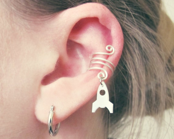 Glow in the Dark Outer Space Spaceship Rocket Cartilage Non Pierced Wire Ear Cuff  - Choose Your Color