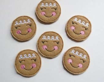 Gingerbread Faces Style PA Machine Embroidered Felt Applique - 416