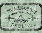 Digital Download Irish Whiskey Dublin ad, Antique Illustration, digi stamp, Ireland Irish Whisky advertisement, St. Patricks Day