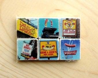 Chicago Hot Dog Magnet Series - set of 6