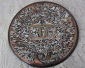 Vintage Handmade Brass and Copper Decorative Plate with Egyptian Symbols Late 1980s
