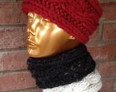 Wide Knit Headband Neackwarmer Earwarmer Cables Fisherman's Wife Ear Warmer Neck Warmer