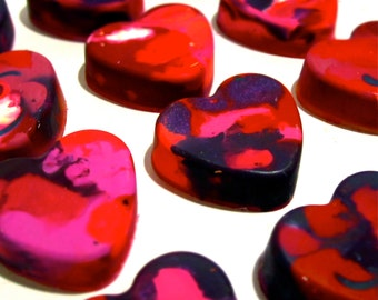 Kids VALENTINE Heart Crayons - Mini Heart Recycled Crayons -  Recycled Rainbow Crayons - Gift for Valentine's Day
