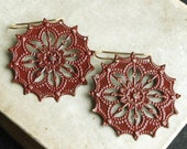 Dark Red Mandala Earrings, Red Painted Metal Chandelier Earrings,  Dangle Earrings,Filligree Earrings