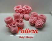 Three on one easy to knit  baby booties for 3-6 monthes pattern tutorial-  For personal use only by Artefyk