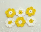 Supplies Six (6) Handmade applique CROCHETED FLOWERS in white and yellow by Artefyk