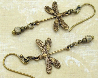 Dragonfly Earrings, Victorian Jewelry Dragon Fly Earrings, Nature Inspired, Art Nouveau Style Charms