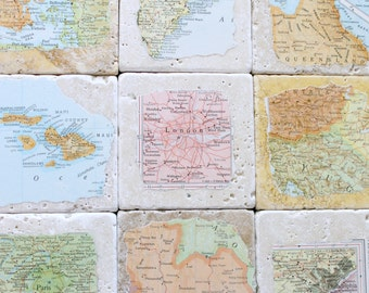 Anniversary Gifts for Men.  Personalized Natural Stone Vintage Map Coasters. You Select Four Locations.