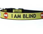 1 Inch Wide Dog Collar with Adjustable Buckle or Martingale in I Am Blind an Exclusive Design