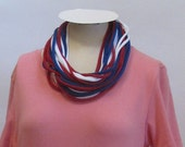 Infinity Scarf Red, White and Blue Handmade by Fashion Green T Bags