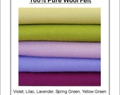 100 PURE WOOL FELT Violet, Lavender, Green Shade - 5 squares