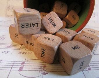 Vintage Scrabble Cubes- Set of 5