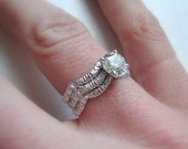 Wave Lace engagement ring in 14k white gold with Canadian diamond