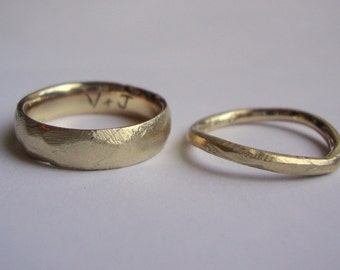 10k solid Gold rough Wedding ring set custom engraved inside.