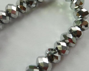 4x3mm   silver grey Glass   rondelle faceted Beads  19 inch strand  drw1  jewelry supplies findings beading
