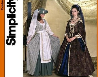 Sewing Pattern Simplicity 7756, Renaissance Dress Out of Print Size 4,6,8