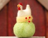 Nesting White Leghorn Chicken Pincushion - Made to Order - Needle Felted Whimsy