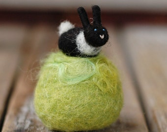 Small Bunny Pincushion - Black and White - Needle Felted Decor