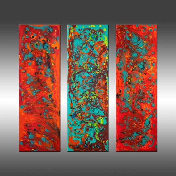 Title: Tropical Haze 2 - 30x30 Inch Original Modern Art Painting, Triptych, Canvas Wall Art