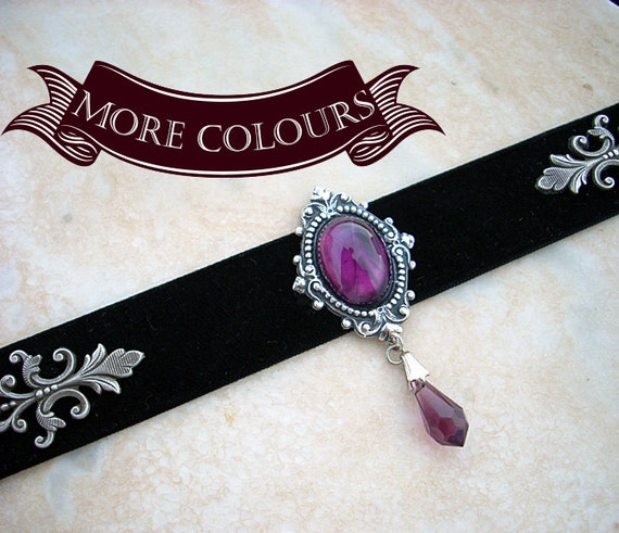 20%OFF Purple Gothic Choker Black Velvet Ribbon Glass and Crystal Victorian Gothic Jewelry Black Choker Black Collar