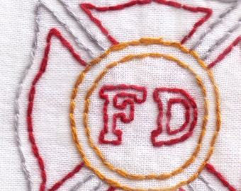 Fire Department Hand Embroidery Pattern, Fire Fighter's Badge, Fireman, Firemen, First Responder, PDF