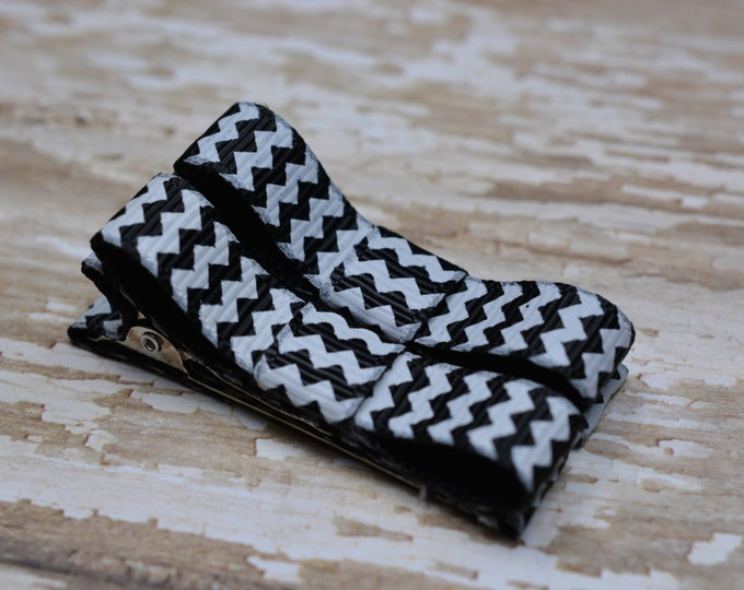 Black Chevron Hair Clips Basic Tuxedo Clips Alligator Non Slip Barrettes for Babies Toddler Girl Set of 2