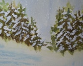 Art, Fine Art-Watercolor Painting of a Snowy Scene with Pine Trees