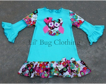 Custom Boutique Girl Comfy Teal Knit Owl Floral Dress Size 3m 6m 9m 12m 18m 2T 3T 4T 5T 6 7 8 9 10 Girl