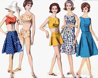 Vintage 1960s MOD Playsuit Skirt Swimsuit w/ Panty Brief Sewing Pattern Vogue 5489 60s Madmen Sewing Pattern Size 14 Bust 34